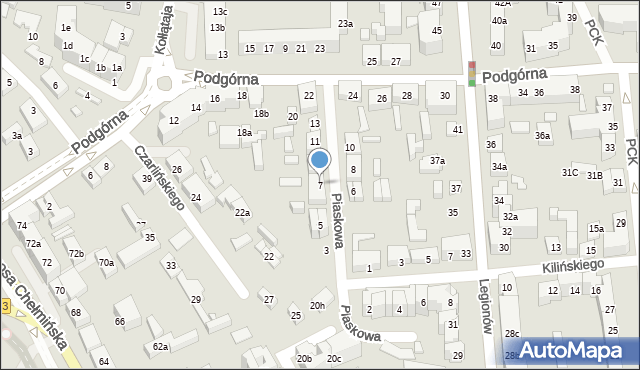 Toruń, Piaskowa, 7, mapa Torunia