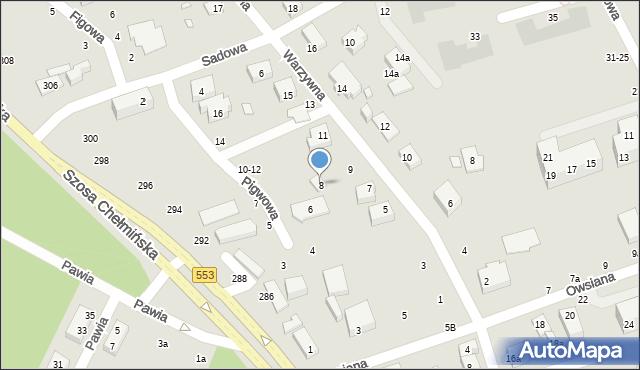 Toruń, Pigwowa, 8, mapa Torunia