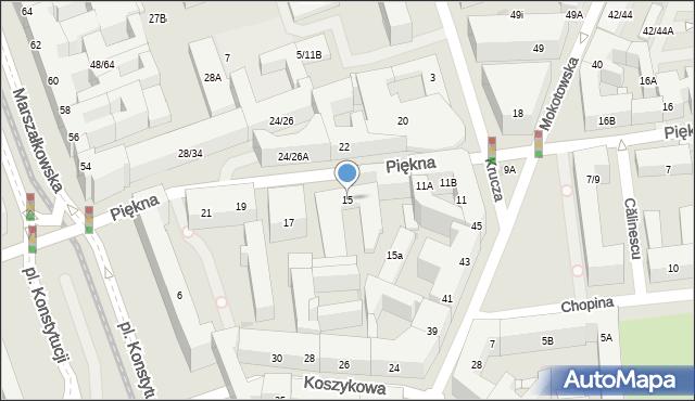 Warszawa, Piękna, 15, mapa Warszawy