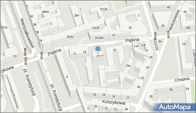 Warszawa, Piękna, 17, mapa Warszawy