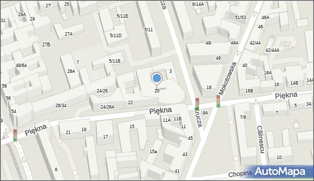 Warszawa, Piękna, 20, mapa Warszawy
