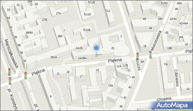 Warszawa, Piękna, 22, mapa Warszawy