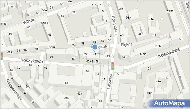 Warszawa, Piękna, 43, mapa Warszawy