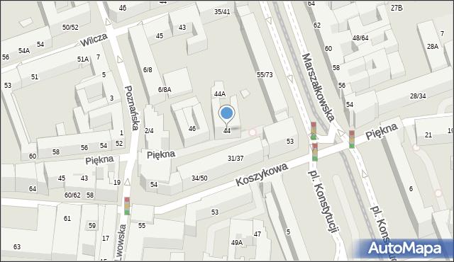 Warszawa, Piękna, 44, mapa Warszawy