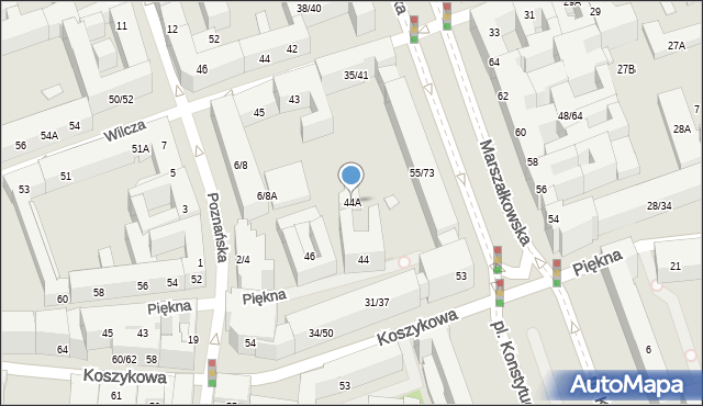 Warszawa, Piękna, 44A, mapa Warszawy