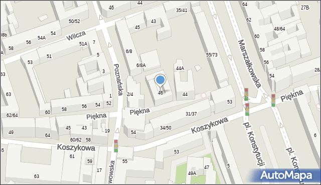 Warszawa, Piękna, 46, mapa Warszawy
