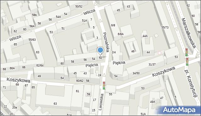 Warszawa, Piękna, 52, mapa Warszawy