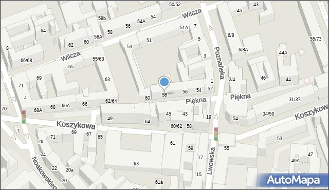 Warszawa, Piękna, 58, mapa Warszawy