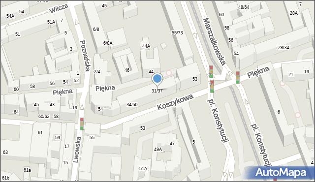 Warszawa, Piękna, 31/37, mapa Warszawy