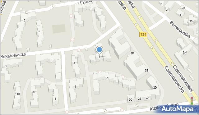 Warszawa, Piekałkiewicza Jana, 1, mapa Warszawy