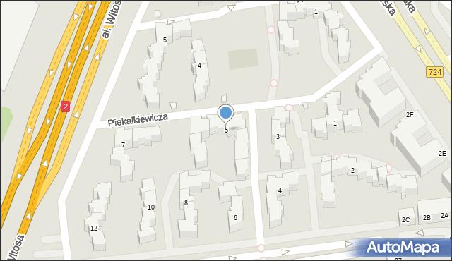 Warszawa, Piekałkiewicza Jana, 5, mapa Warszawy