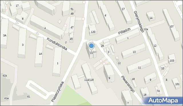 Warszawa, Piwarskiego Jana Feliksa, 11, mapa Warszawy