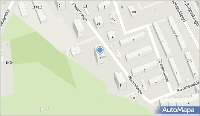 Warszawa, Piwarskiego Jana Feliksa, 3, mapa Warszawy
