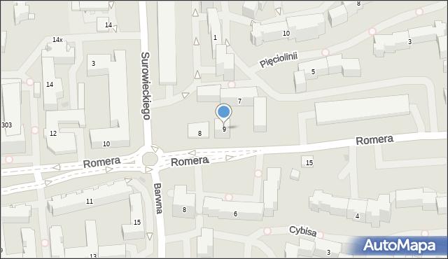 Warszawa, Pięciolinii, 9, mapa Warszawy