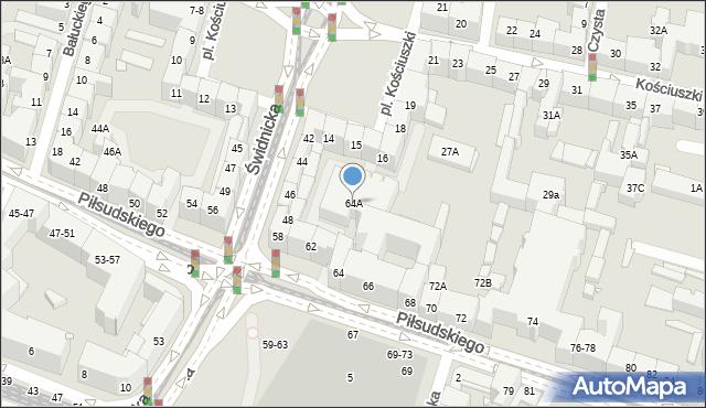 Wrocław, Piłsudskiego Józefa, marsz., 64A, mapa Wrocławia