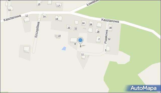 Wyszecino, Piaskowa, 6, mapa Wyszecino