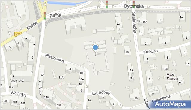 Zabrze, Piastowska, 7, mapa Zabrza