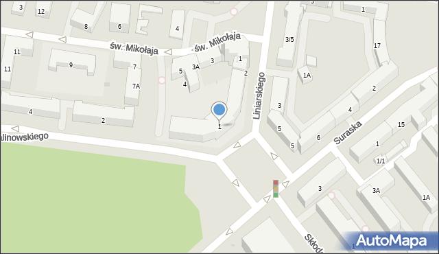 Białystok, Plac Niezależnego Zrzeszenia Studentów, 1, mapa Białegostoku