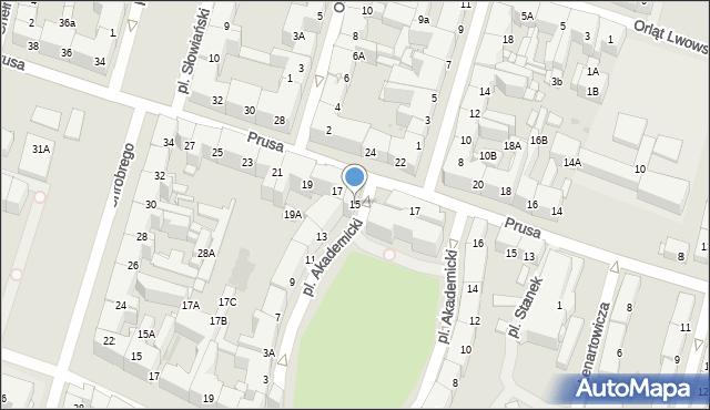 Bytom, Plac Akademicki, 15, mapa Bytomia