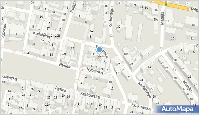 Bytom, Plac Grunwaldzki, 10, mapa Bytomia