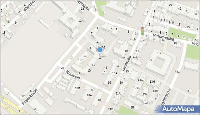 Chełm, Plac Kupiecki, 13, mapa Chełma
