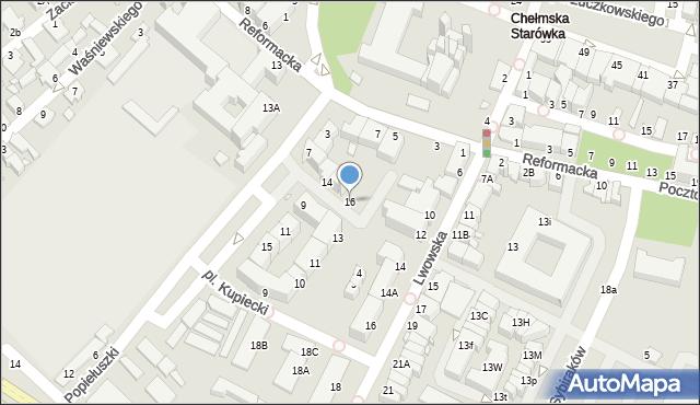 Chełm, Plac Kupiecki, 16, mapa Chełma