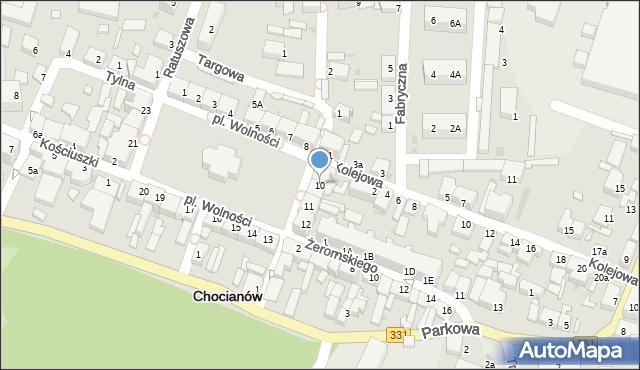 Chocianów, Plac Wolności, 10, mapa Chocianów