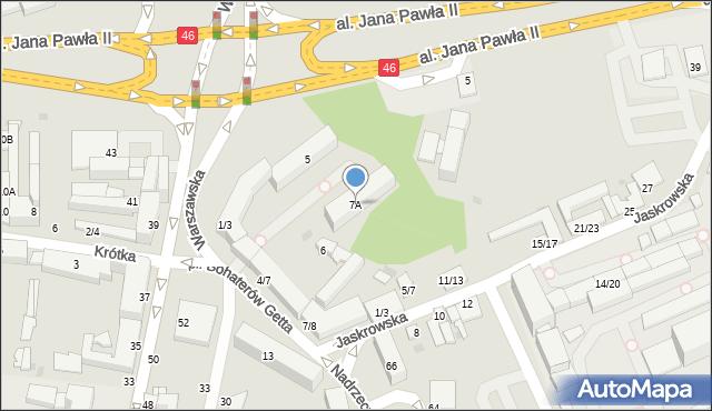 Częstochowa, Plac Bohaterów Getta, 7A, mapa Częstochowy