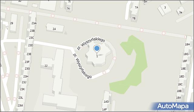 Gdańsk, Plac Wyszyńskiego Stefana, ks. kard., 1, mapa Gdańska
