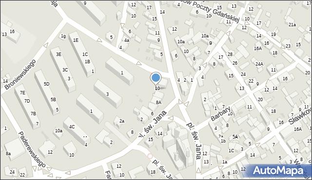 Jaworzno, Plac św. Jana, 10a, mapa Jaworzno
