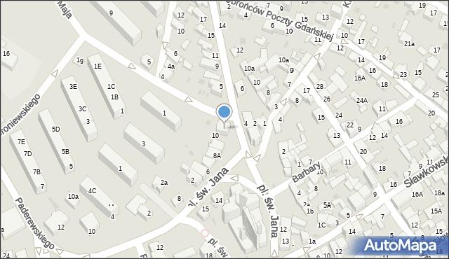 Jaworzno, Plac św. Jana, 11, mapa Jaworzno