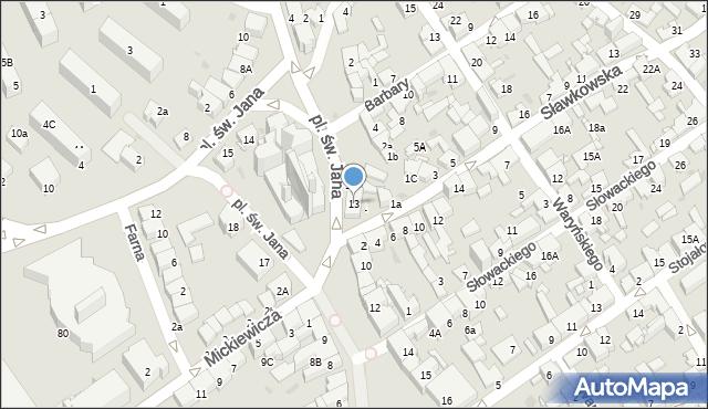 Jaworzno, Plac św. Jana, 13, mapa Jaworzno