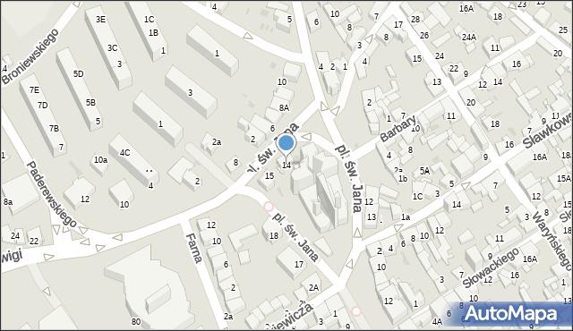 Jaworzno, Plac św. Jana, 14, mapa Jaworzno