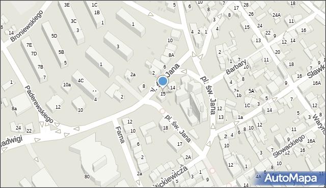 Jaworzno, Plac św. Jana, 15, mapa Jaworzno