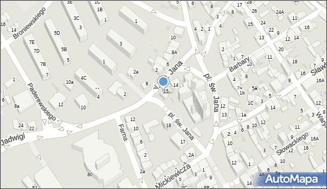 Jaworzno, Plac św. Jana, 16, mapa Jaworzno