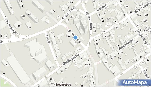 Jaworzno, Plac św. Jana, 17, mapa Jaworzno