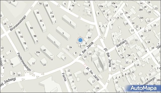 Jaworzno, Plac św. Jana, 2, mapa Jaworzno