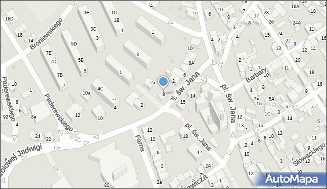 Jaworzno, Plac św. Jana, 8, mapa Jaworzno