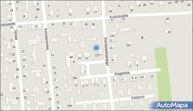 Jedwabne, Plac 250-lecia, 13, mapa Jedwabne