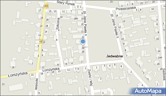 Jedwabne, Plac Jana Pawła II, 24, mapa Jedwabne