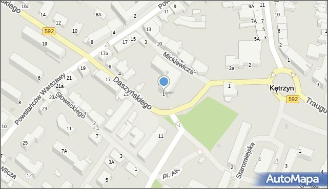 Kętrzyn, Plac Grunwaldzki, 1, mapa Kętrzyn