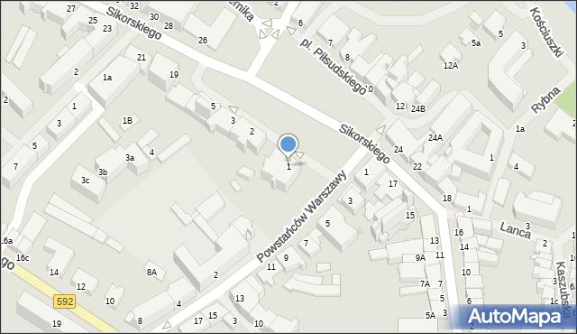 Kętrzyn, Plac Piłsudskiego Józefa, marsz., 1, mapa Kętrzyn