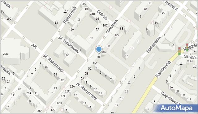 Kołobrzeg, Plac Ratuszowy, 5E, mapa Kołobrzegu