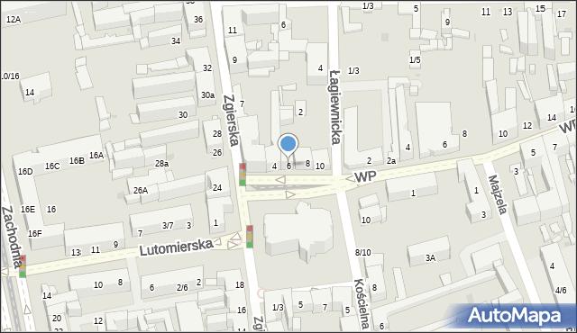 Łódź, Plac Kościelny, 6, mapa Łodzi