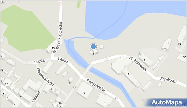 Olecko, Plac Zamkowy, 1, mapa Olecko