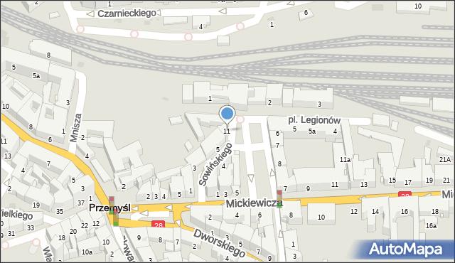 Przemyśl, Plac Legionów, 11, mapa Przemyśla