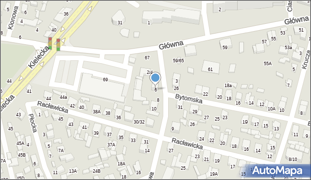 Radom, Planowa, 6, mapa Radomia