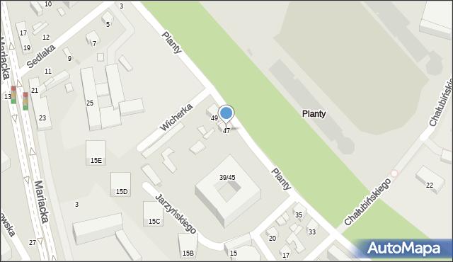 Radom, Planty, 47, mapa Radomia