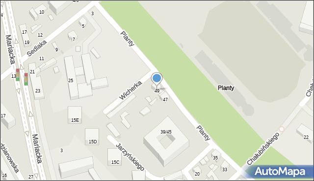 Radom, Planty, 49, mapa Radomia