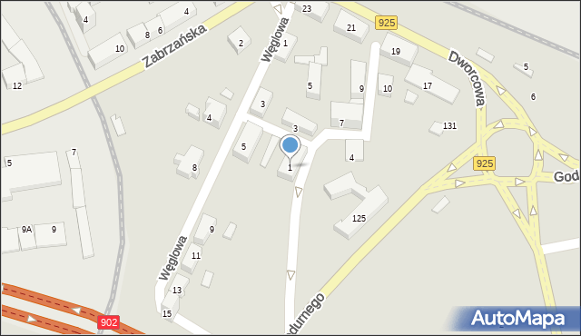 Ruda Śląska, Plac Szkolny, 1, mapa Rudy Śląskiej